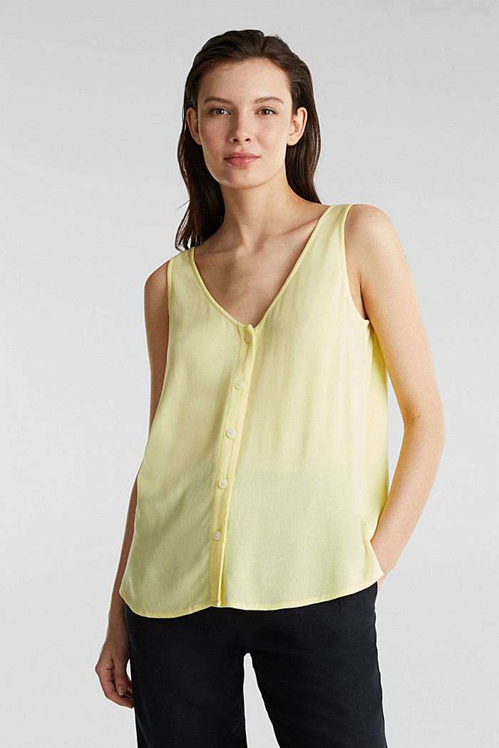 Crêpe blouse top with a button placket, LIME YELLOW, detail image number 0