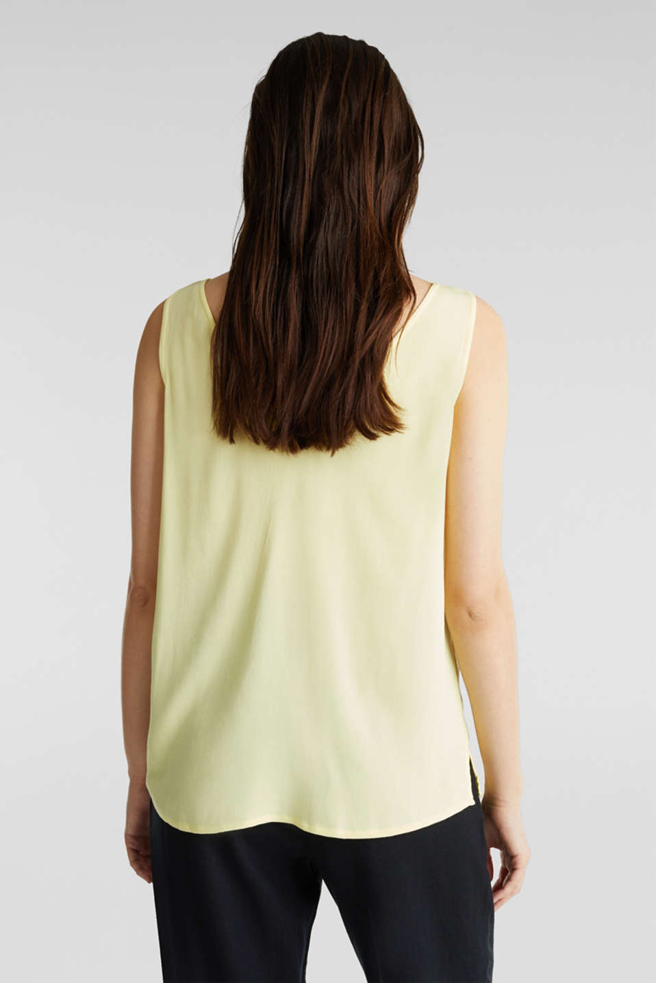 Crêpe blouse top with a button placket, LIME YELLOW, detail image number 3