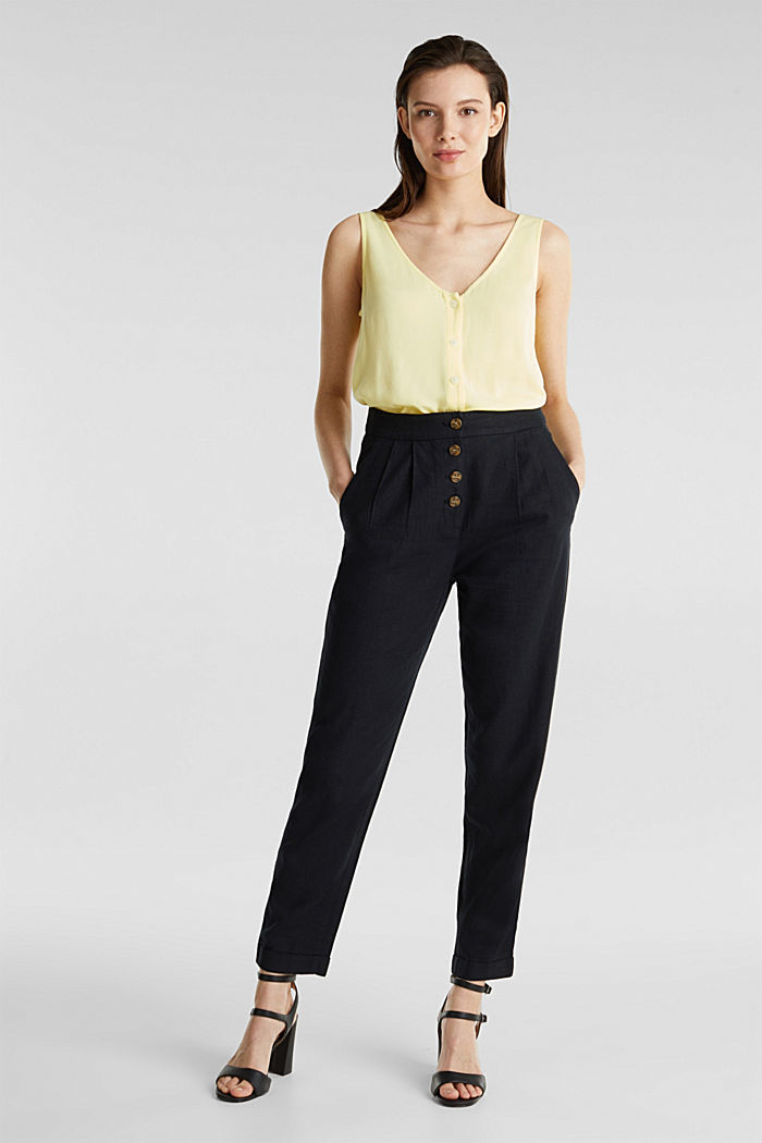 Crêpe blouse top with a button placket, LIME YELLOW, detail image number 1