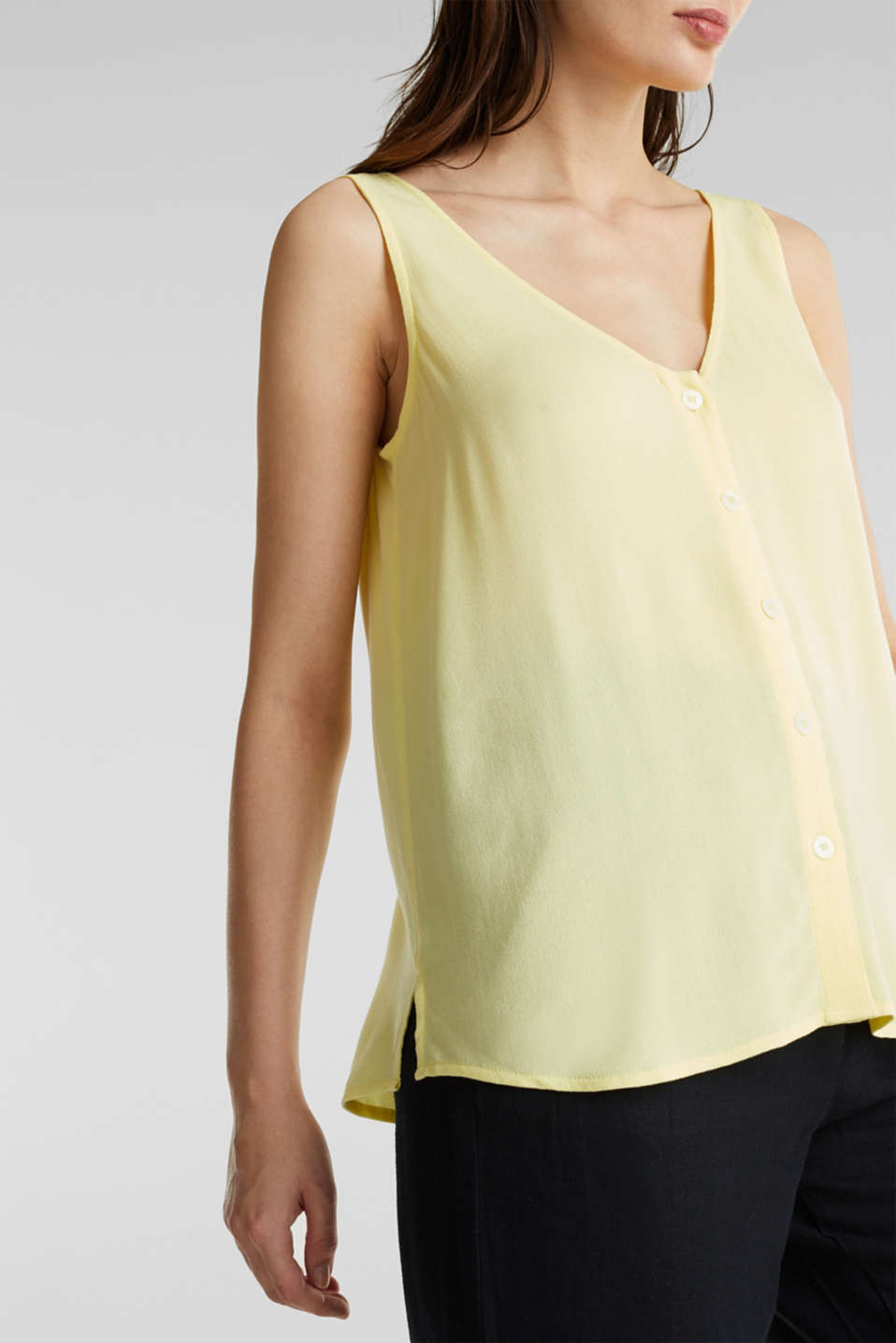 Crêpe blouse top with a button placket, LIME YELLOW, detail image number 2