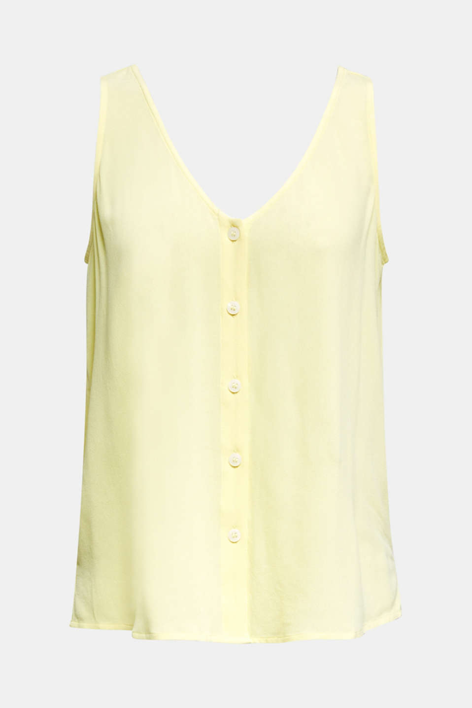 Crêpe blouse top with a button placket, LIME YELLOW, detail image number 6