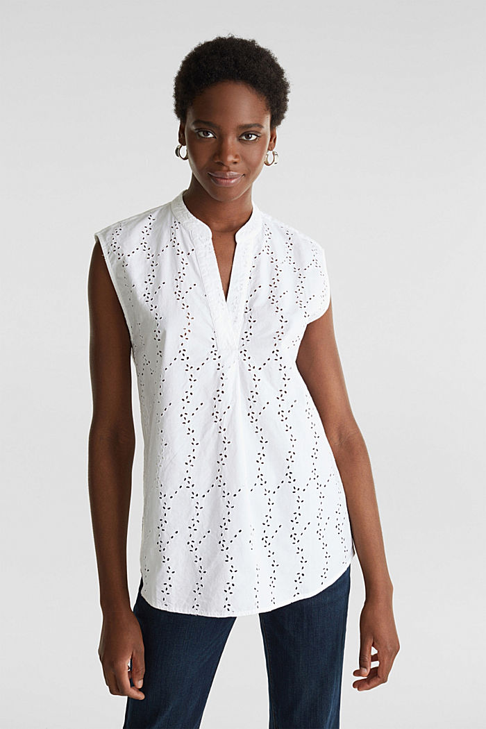 Bluse mit modischem Muster-Mix, WHITE, detail image number 0