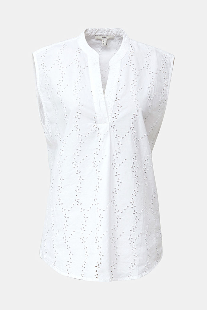 Blouse with a fashionable mixed pattern, WHITE, overview
