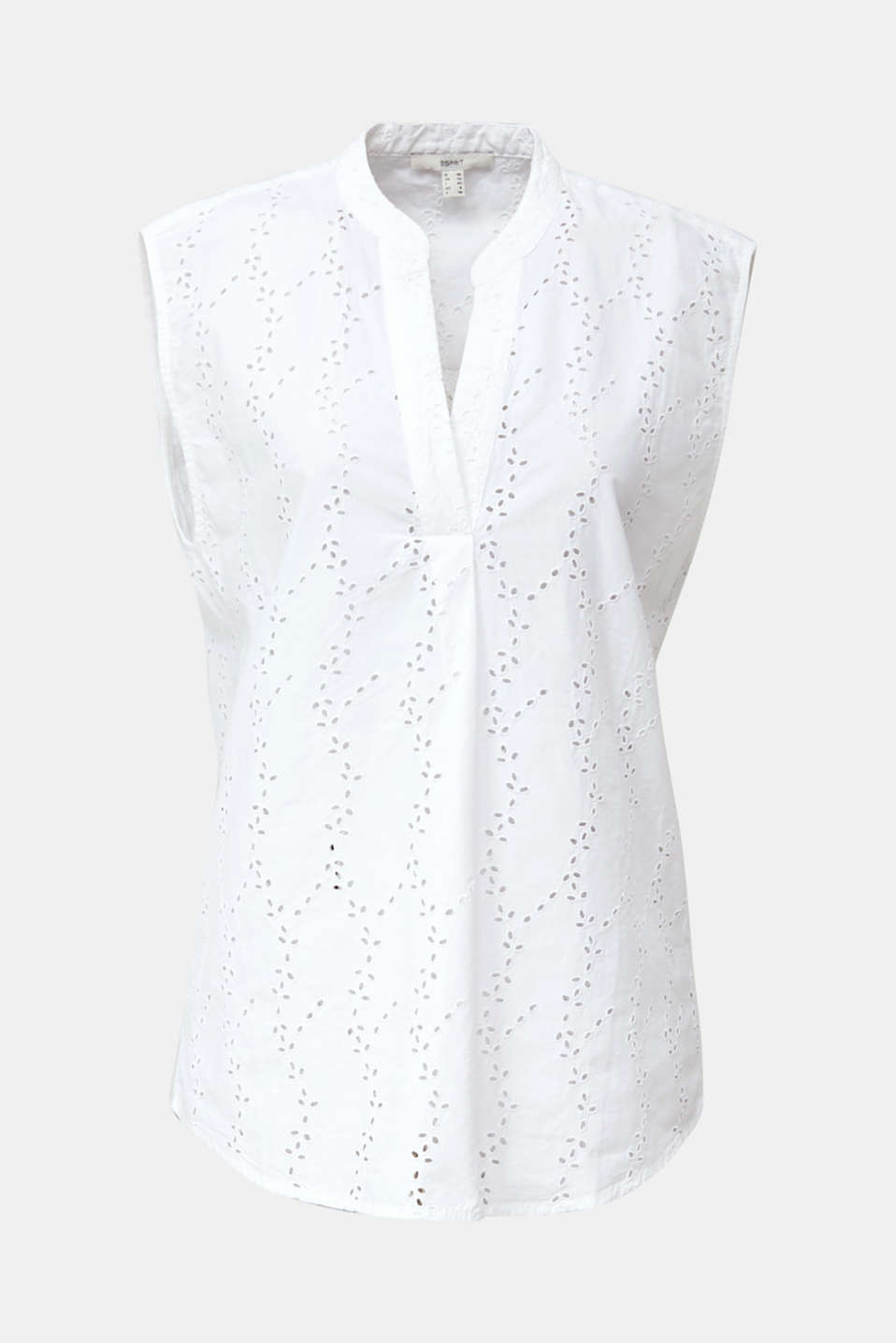 Blouse with a fashionable mixed pattern, WHITE, detail image number 7