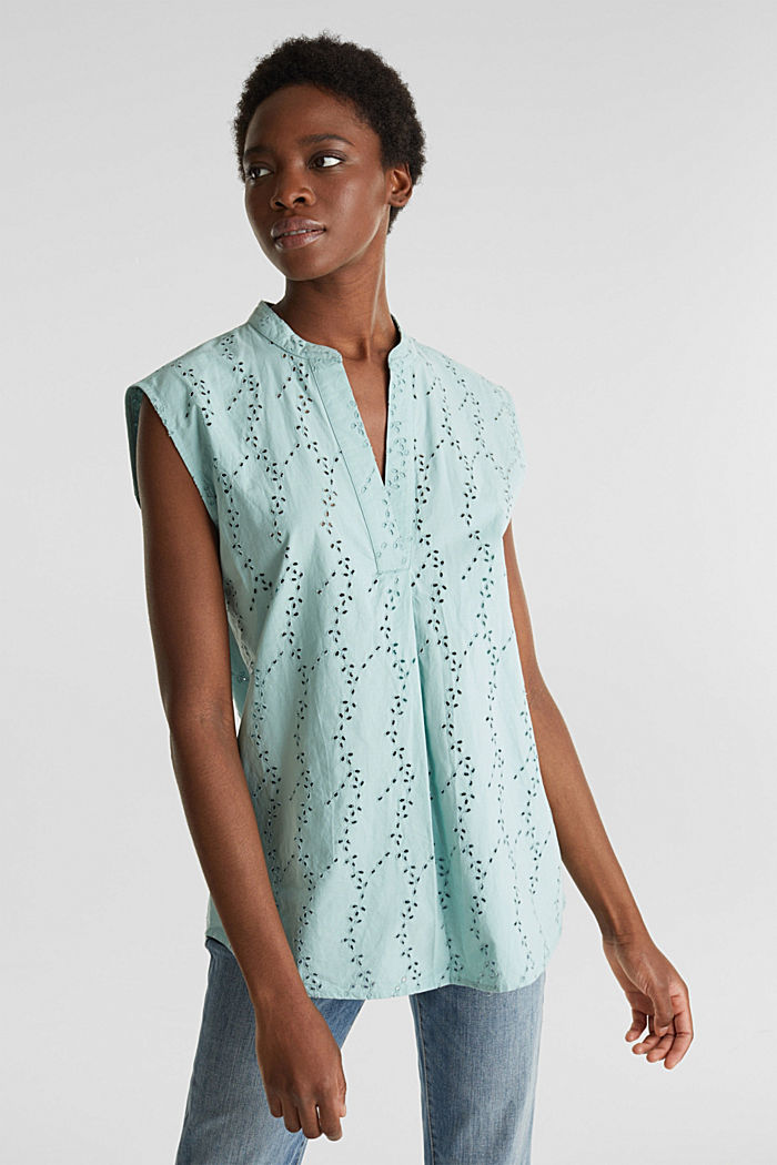 Bluse mit modischem Muster-Mix, LIGHT AQUA GREEN, detail image number 0