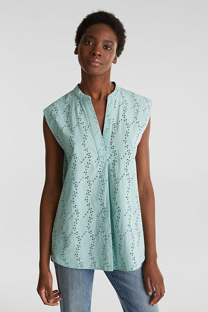 Bluse mit modischem Muster-Mix, LIGHT AQUA GREEN, detail image number 5