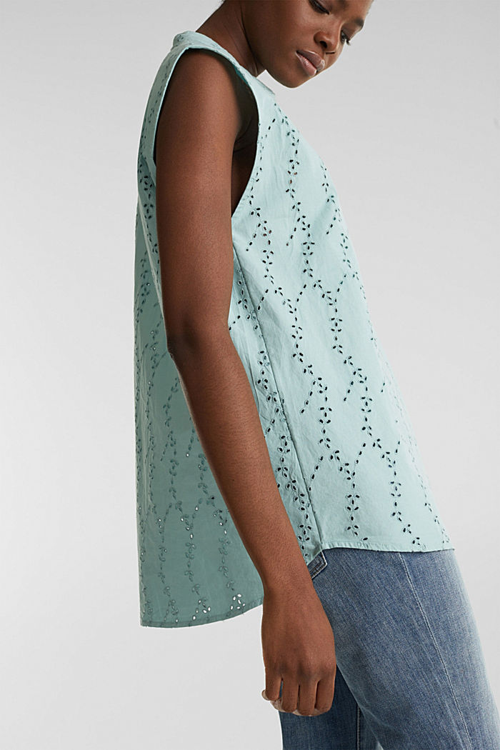 Bluse mit modischem Muster-Mix, LIGHT AQUA GREEN, detail image number 6