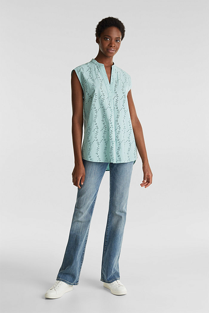 Bluse mit modischem Muster-Mix, LIGHT AQUA GREEN, detail image number 1