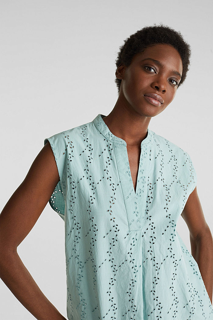 Bluse mit modischem Muster-Mix, LIGHT AQUA GREEN, detail image number 7