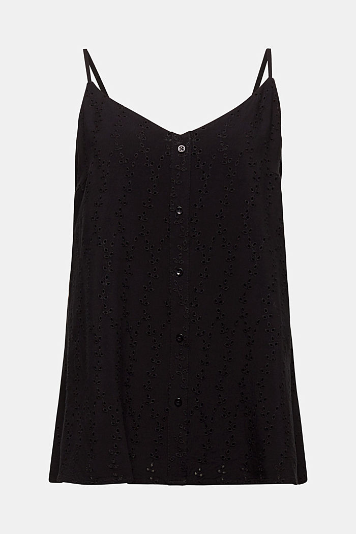 Blouse top with embroidery, BLACK, detail image number 6