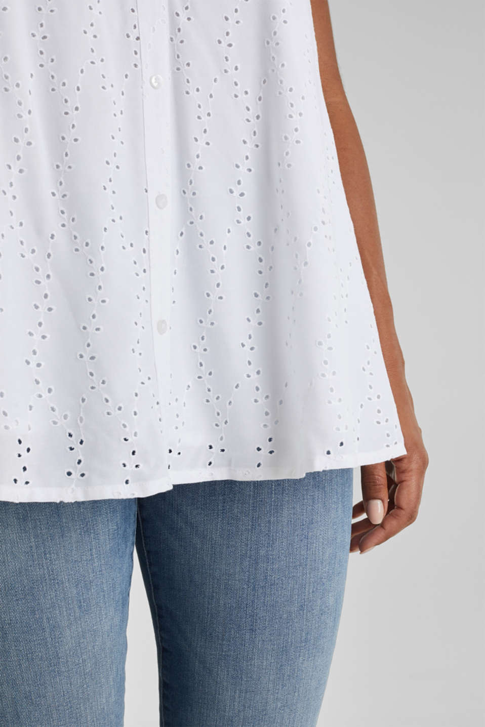 Blouse top with embroidery, WHITE, detail image number 2