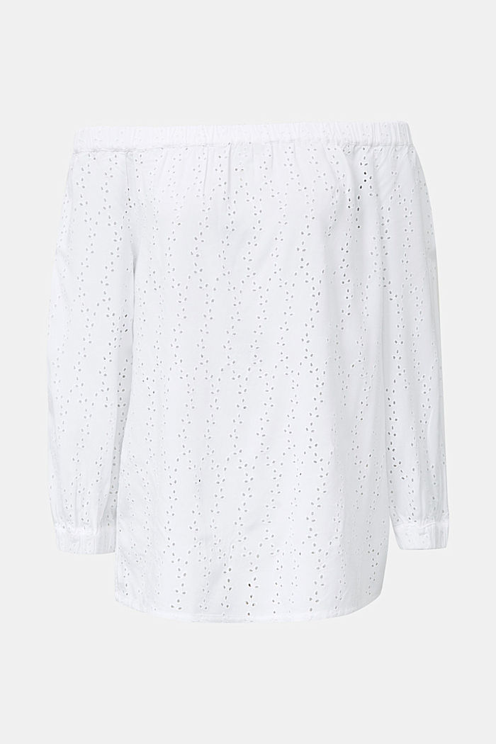 Carmen blouse with broderie anglaise, WHITE, detail image number 6