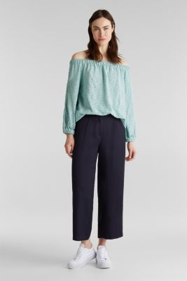 Carmen blouse with broderie anglaise, LIGHT AQUA GREEN, detail
