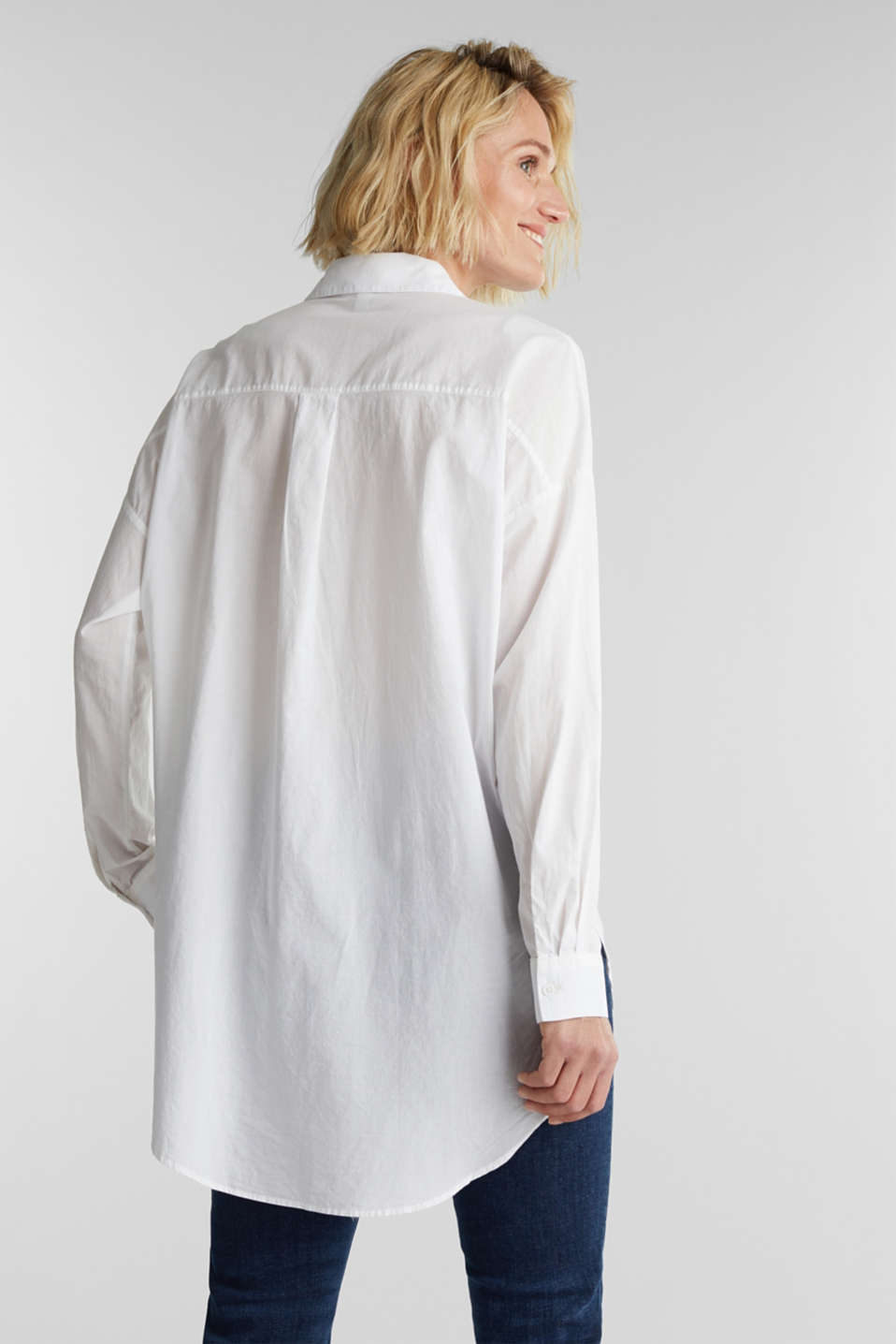 EarthColors® cotton long blouse, WHITE, detail image number 3
