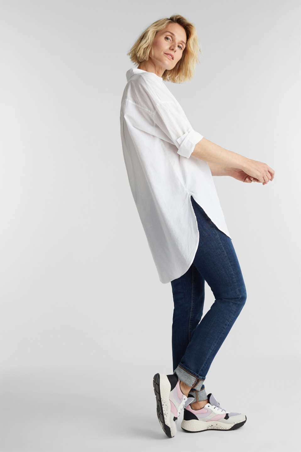 EarthColors® cotton long blouse, WHITE, detail image number 1