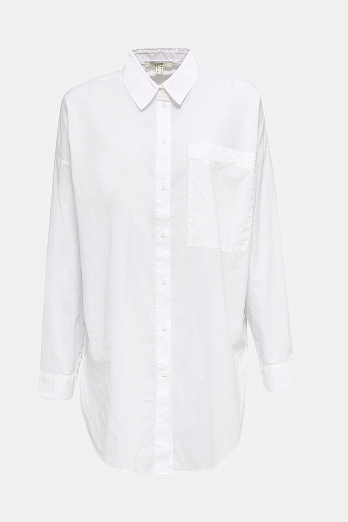 EarthColors® cotton long blouse, WHITE, detail image number 5