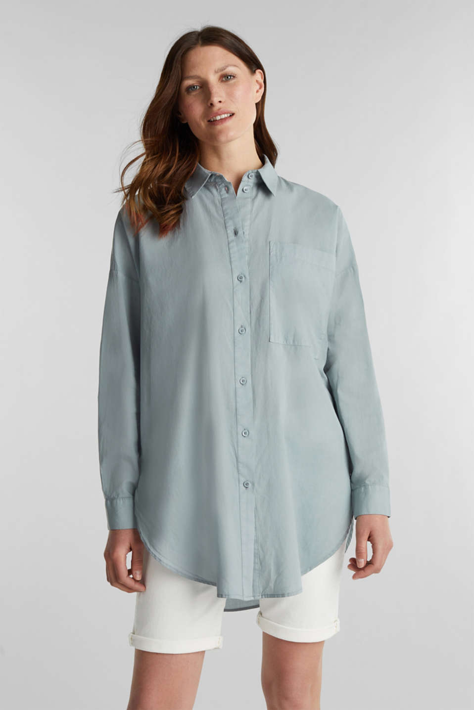 EarthColors® cotton long blouse, GREY BLUE, detail image number 0