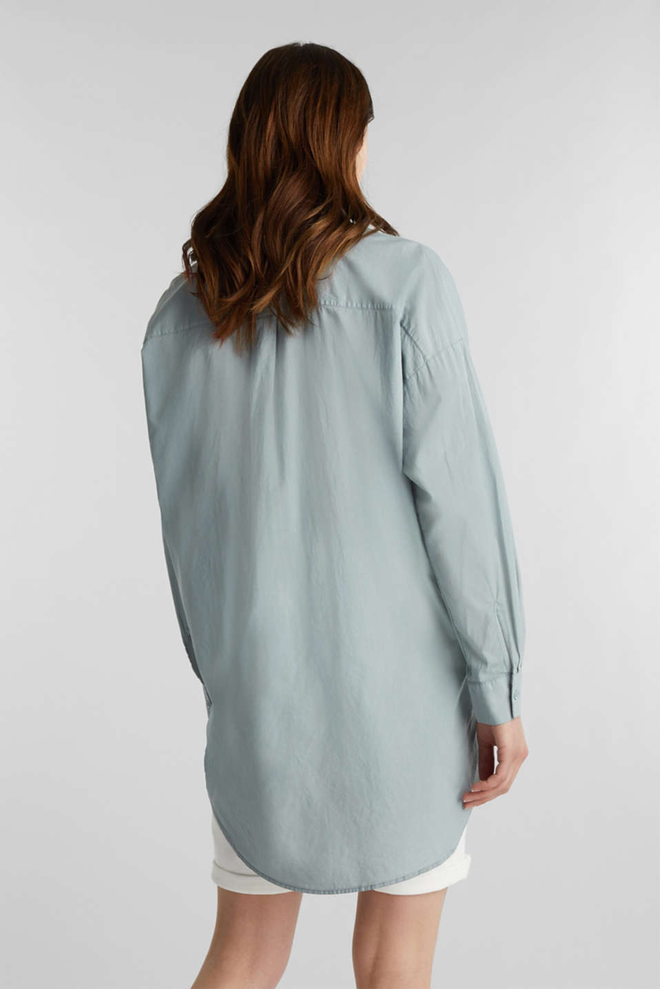 EarthColors® cotton long blouse, GREY BLUE, detail image number 3