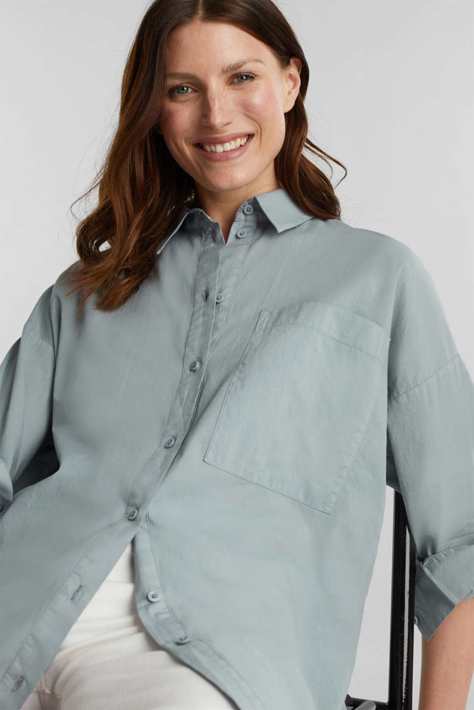 EarthColors® cotton long blouse, GREY BLUE, detail image number 6