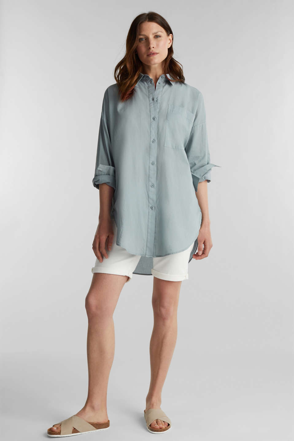 EarthColors® cotton long blouse, GREY BLUE, detail image number 1