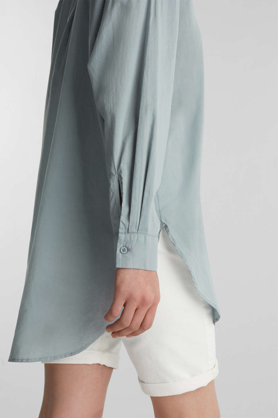 EarthColors® cotton long blouse, GREY BLUE, detail image number 7