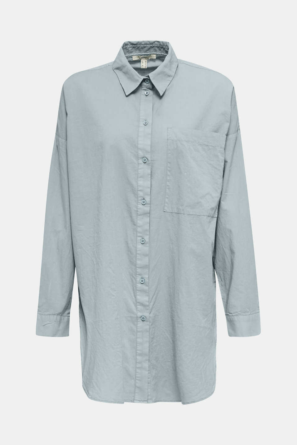 EarthColors® cotton long blouse, GREY BLUE, detail image number 8
