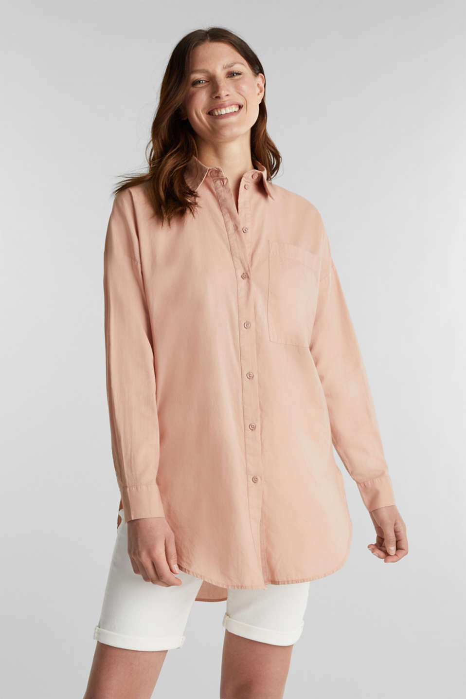 Esprit - EarthColors® long-bluse, bomuld