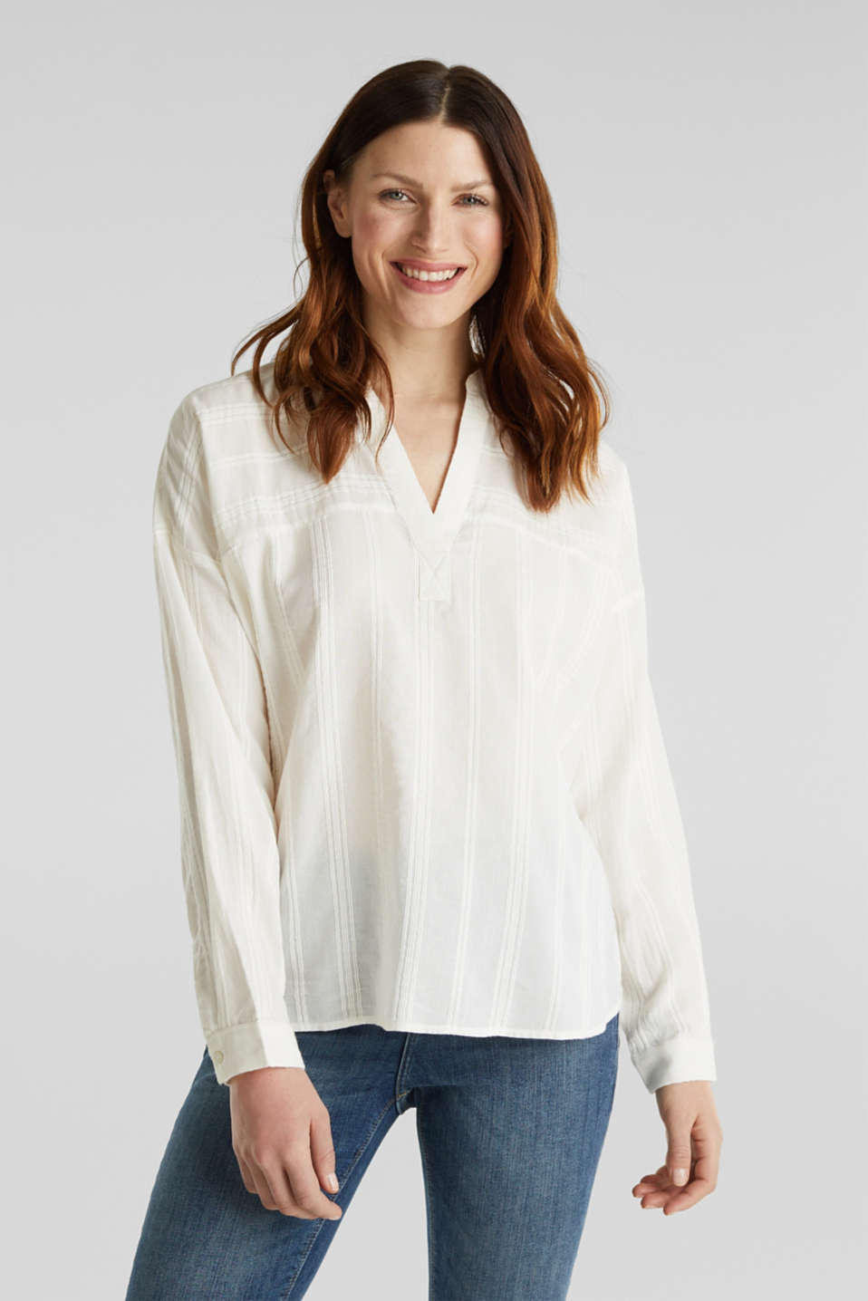 Textured blouse in 100% cotton, OFF WHITE, detail image number 0