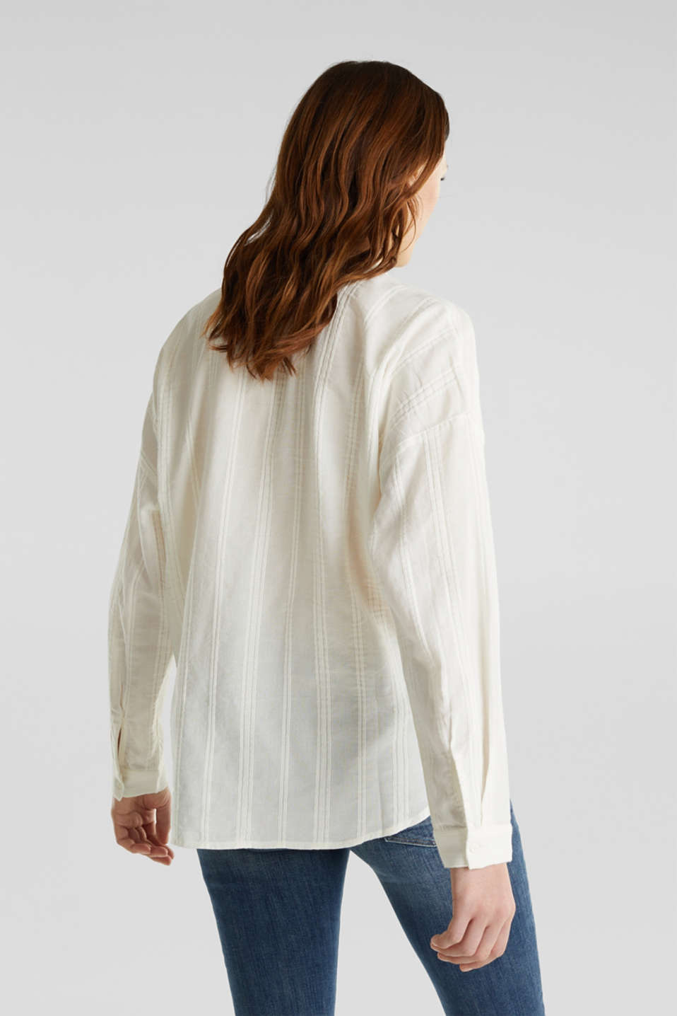 Textured blouse in 100% cotton, OFF WHITE, detail image number 2