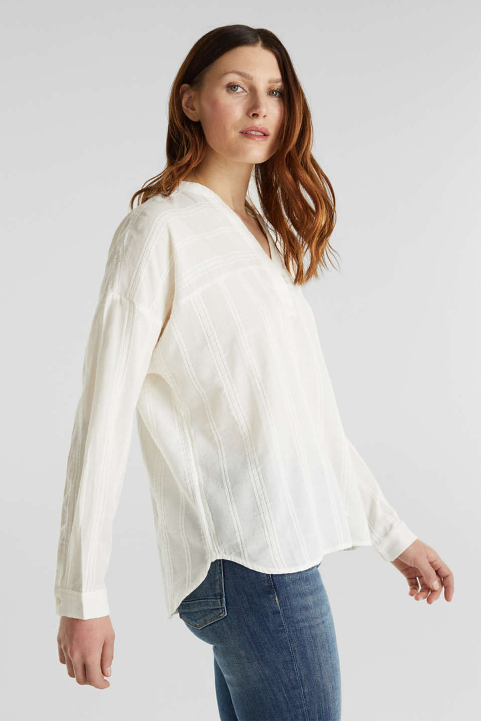 Textured blouse in 100% cotton, OFF WHITE, detail image number 4