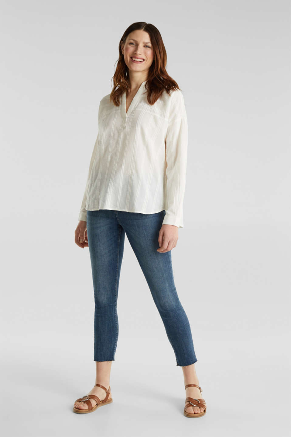 Textured blouse in 100% cotton, OFF WHITE, detail image number 1