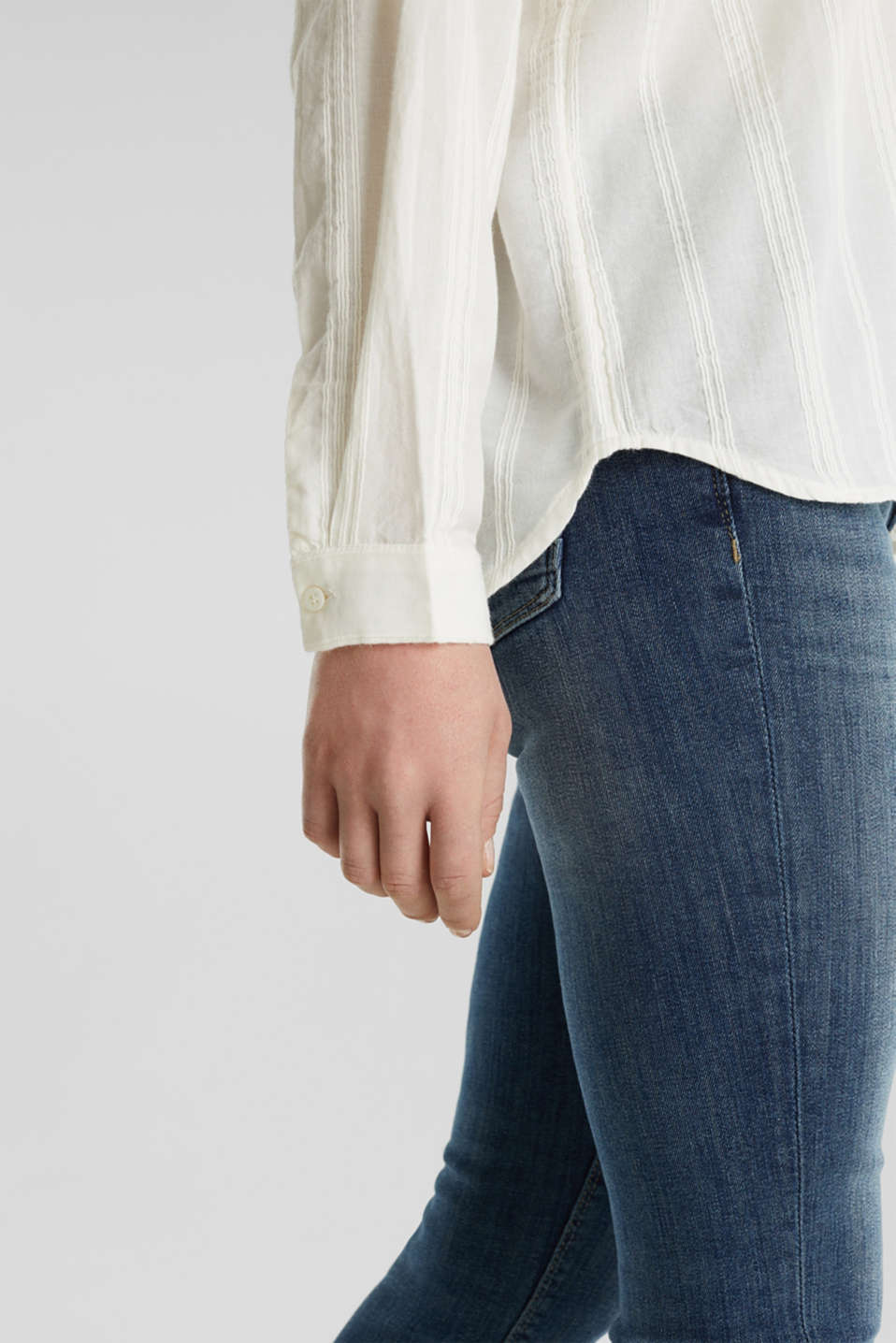 Textured blouse in 100% cotton, OFF WHITE, detail image number 5