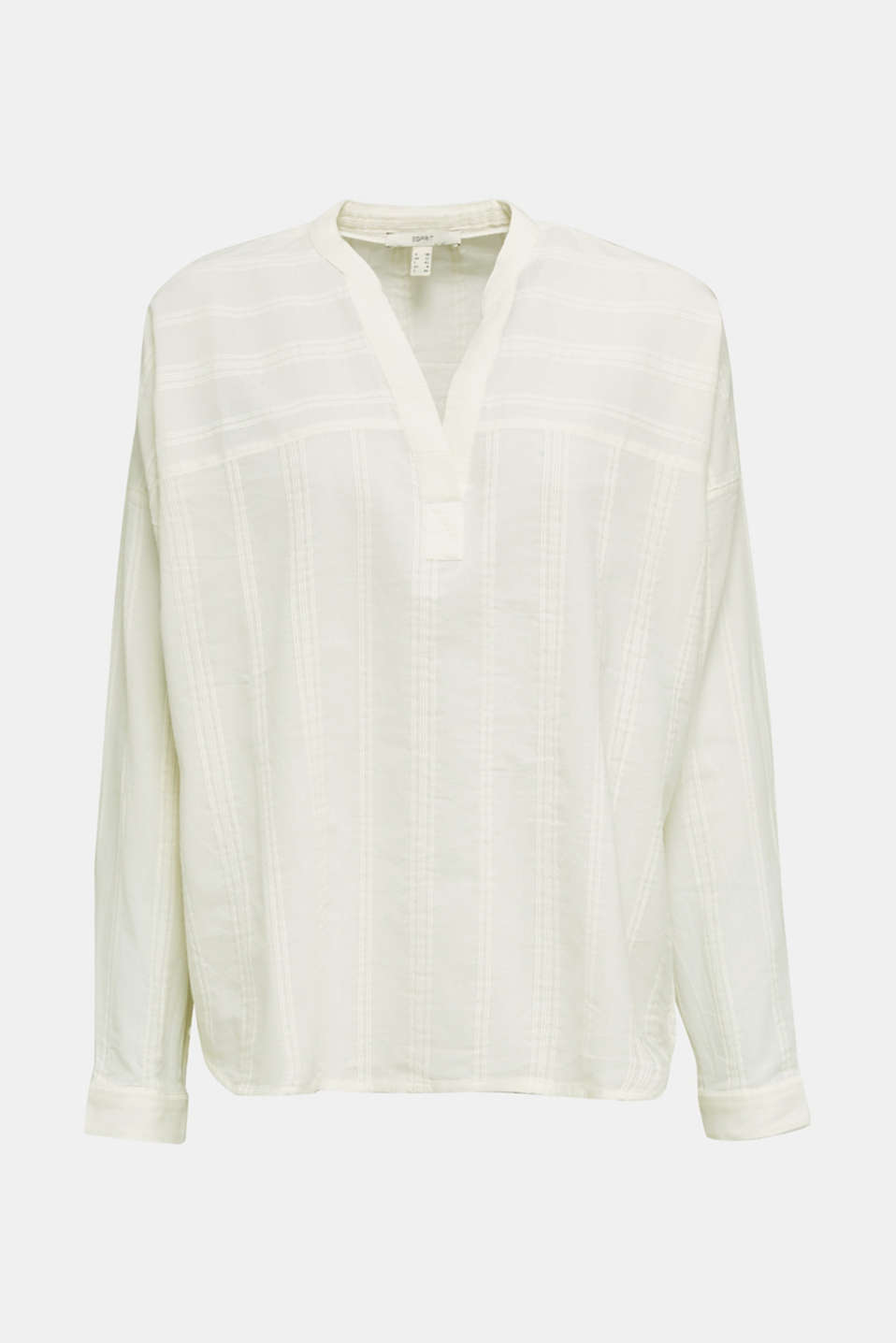 Textured blouse in 100% cotton, OFF WHITE, detail image number 7