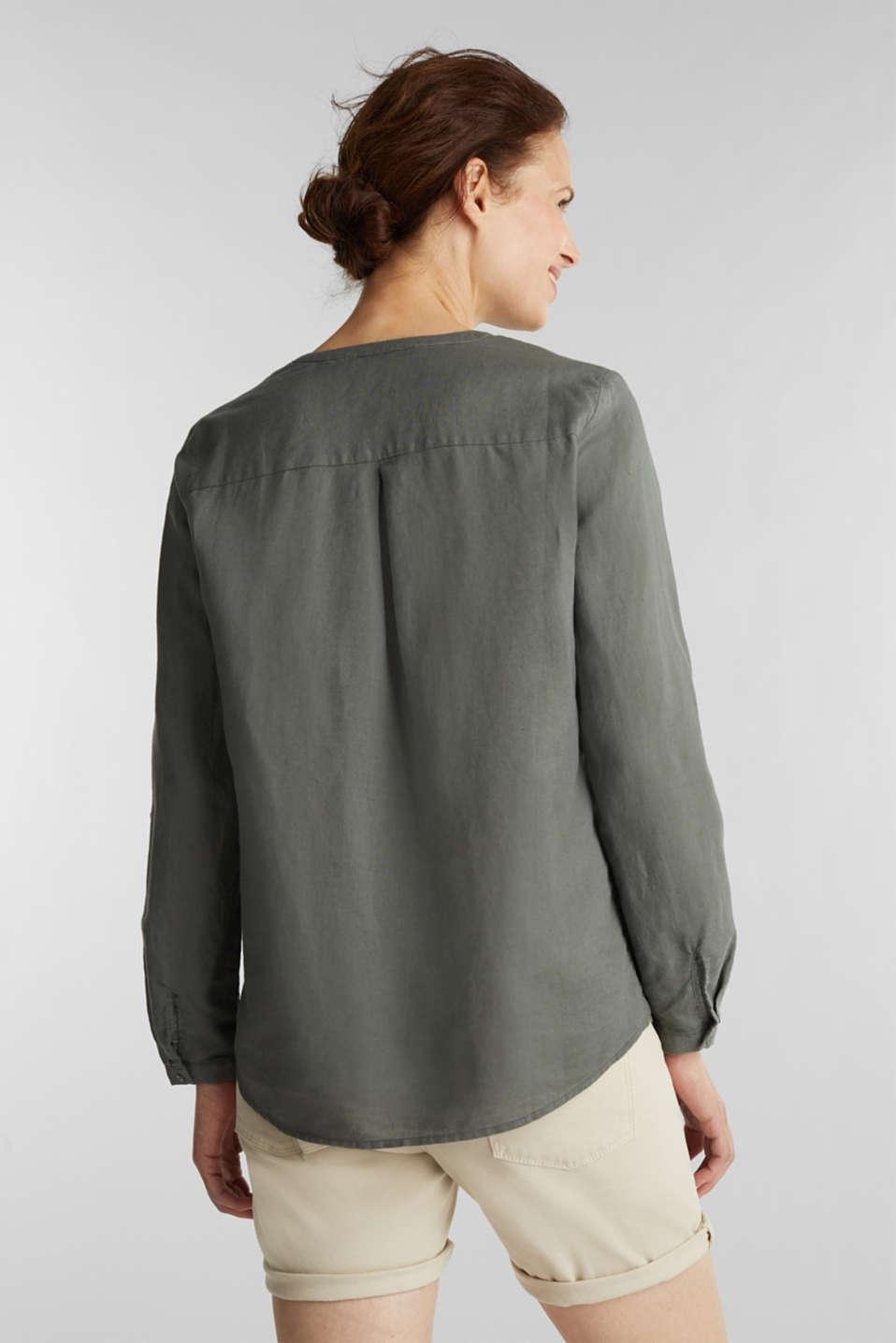 Turn-up blouse in blended linen, KHAKI GREEN, detail image number 3