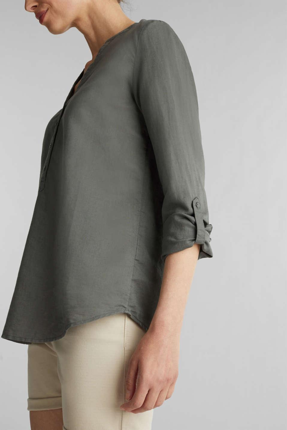 Turn-up blouse in blended linen, KHAKI GREEN, detail image number 2
