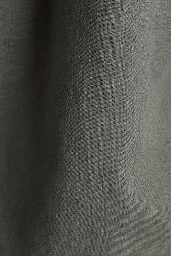Ze směsi se lnem: halenka s ohrnovacími rukávy, KHAKI GREEN, detail image number 4