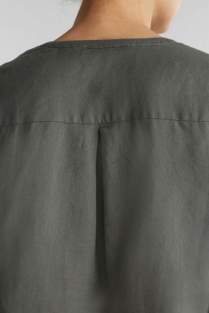 Ze směsi se lnem: halenka s ohrnovacími rukávy, KHAKI GREEN, detail image number 5