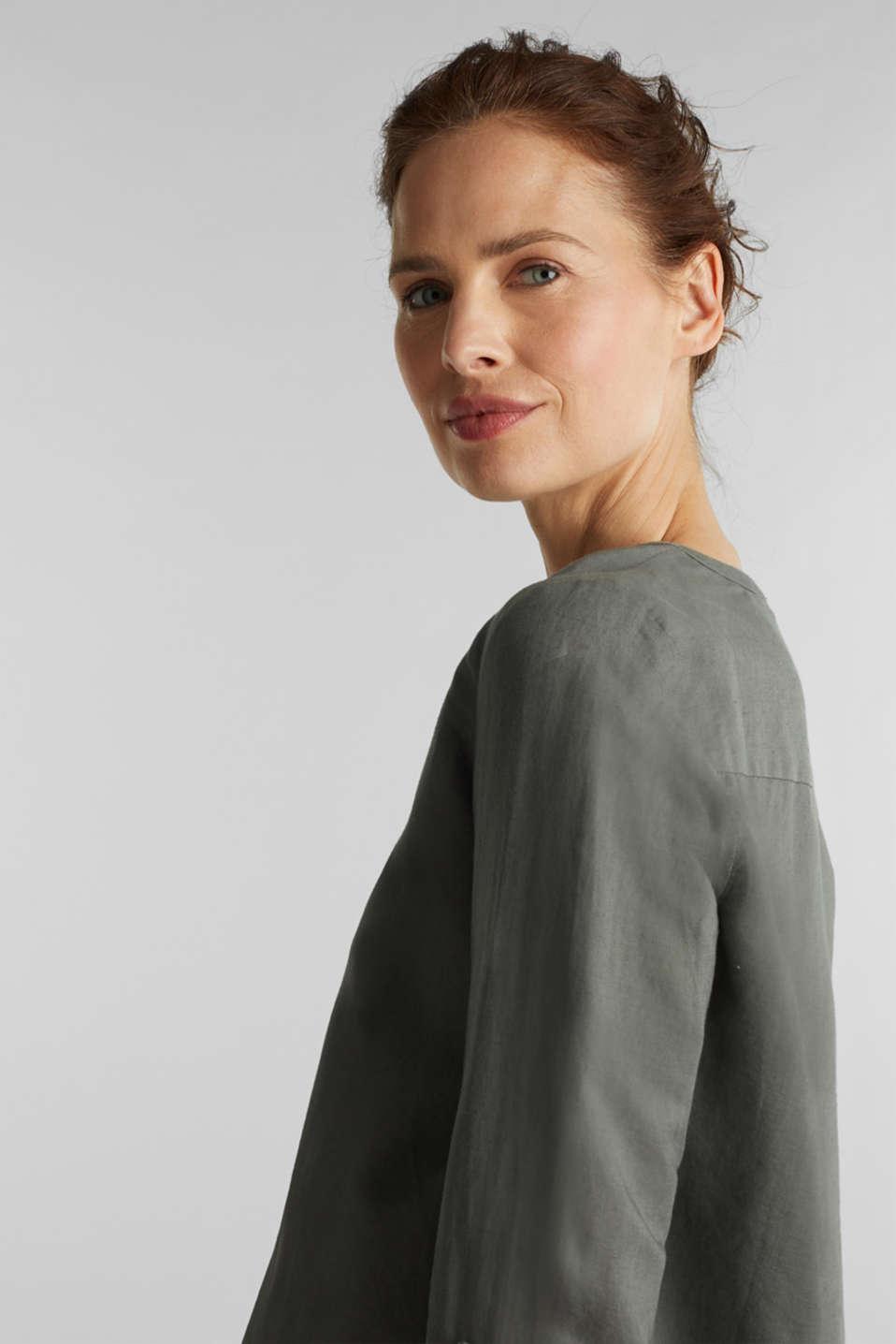 Turn-up blouse in blended linen, KHAKI GREEN, detail image number 6
