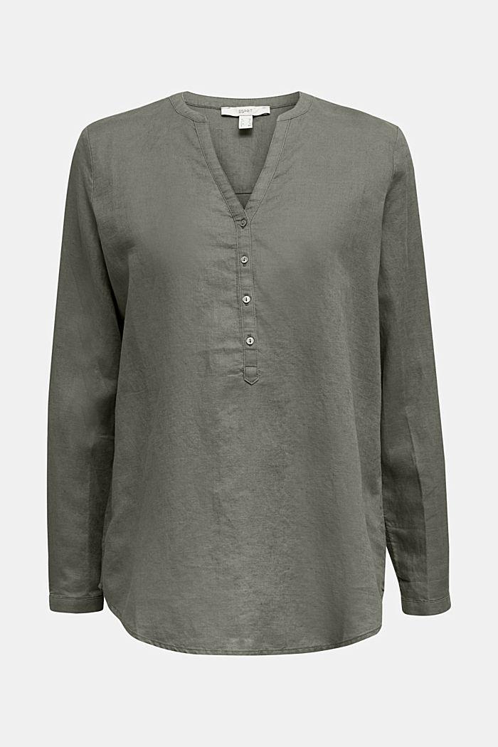 Van een linnenmix: turn-up-blouse