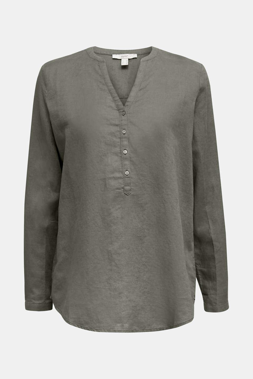 Turn-up blouse in blended linen, KHAKI GREEN, detail image number 7