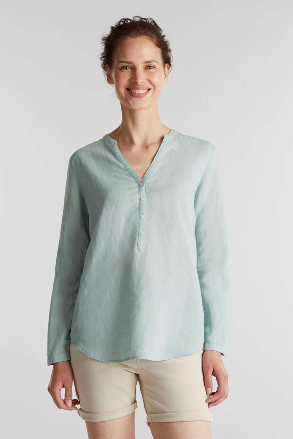 Turn-up blouse in blended linen, LIGHT AQUA GREEN, detail image number 0