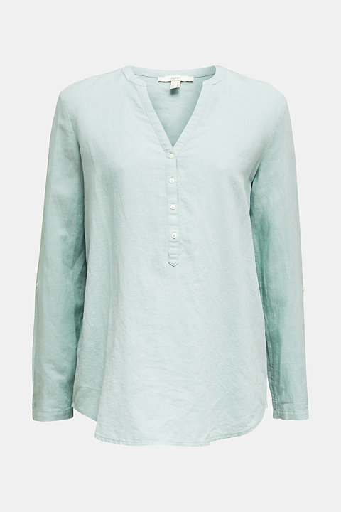 Turn-up blouse in blended linen
