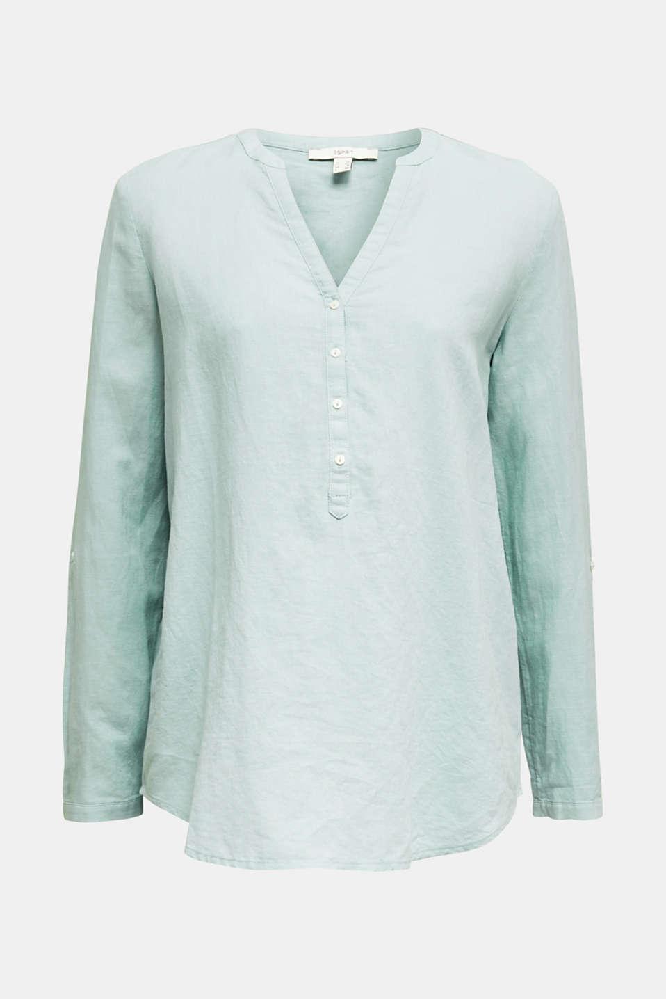 Turn-up blouse in blended linen, LIGHT AQUA GREEN, detail image number 7