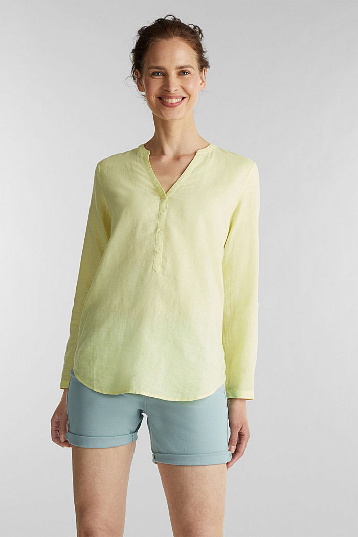 Turn-up blouse in blended linen, LIME YELLOW, detail image number 0