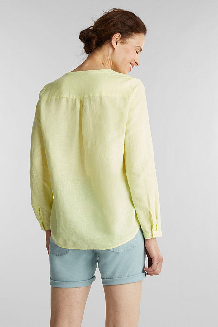 Turn-up blouse in blended linen, LIME YELLOW, detail image number 3