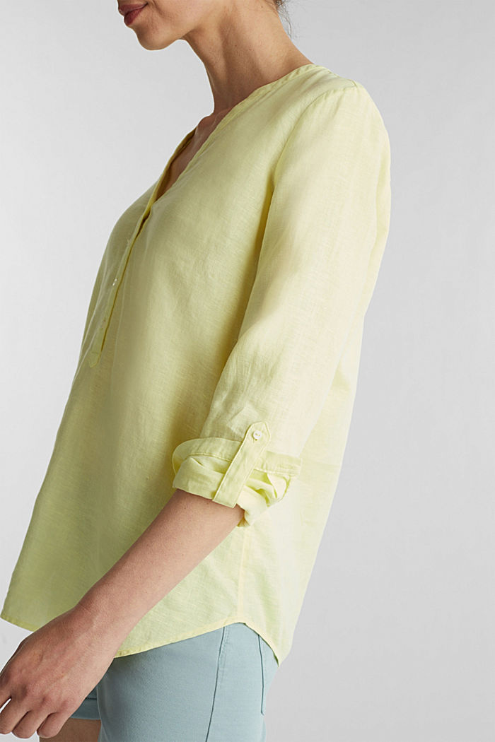 Turn-up blouse in blended linen, LIME YELLOW, detail image number 2