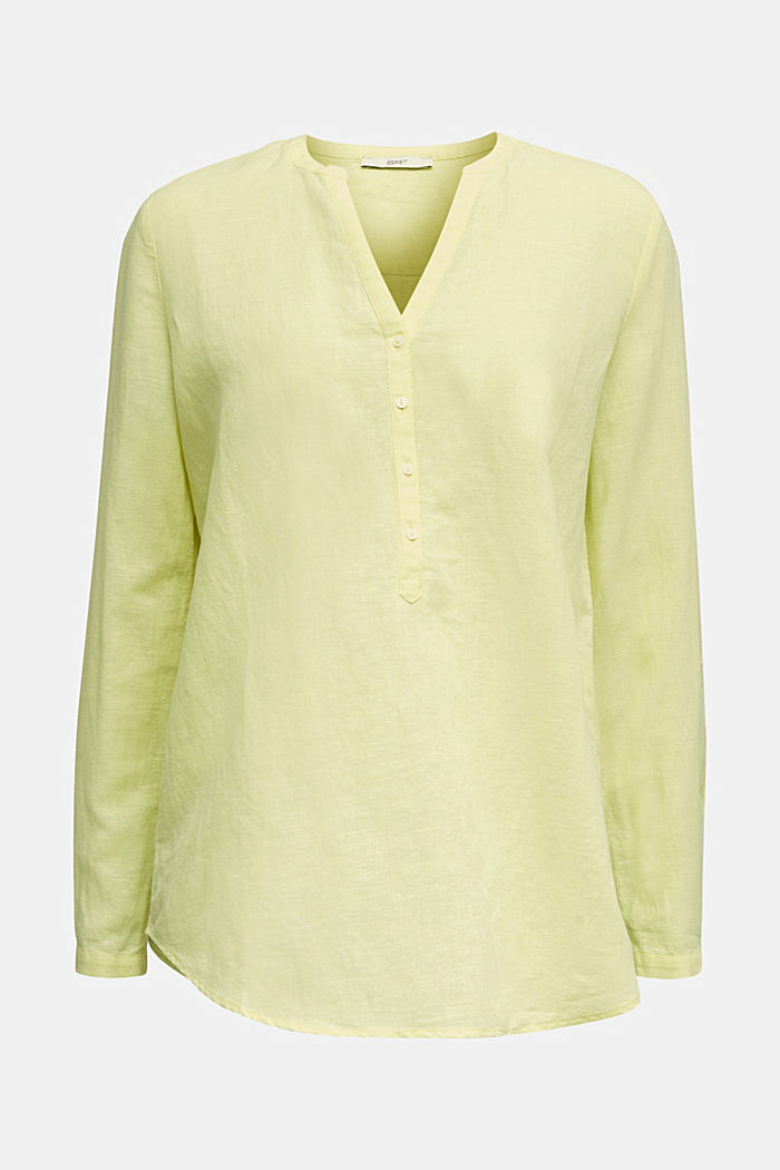 Turn-up blouse in blended linen, LIME YELLOW, detail image number 6