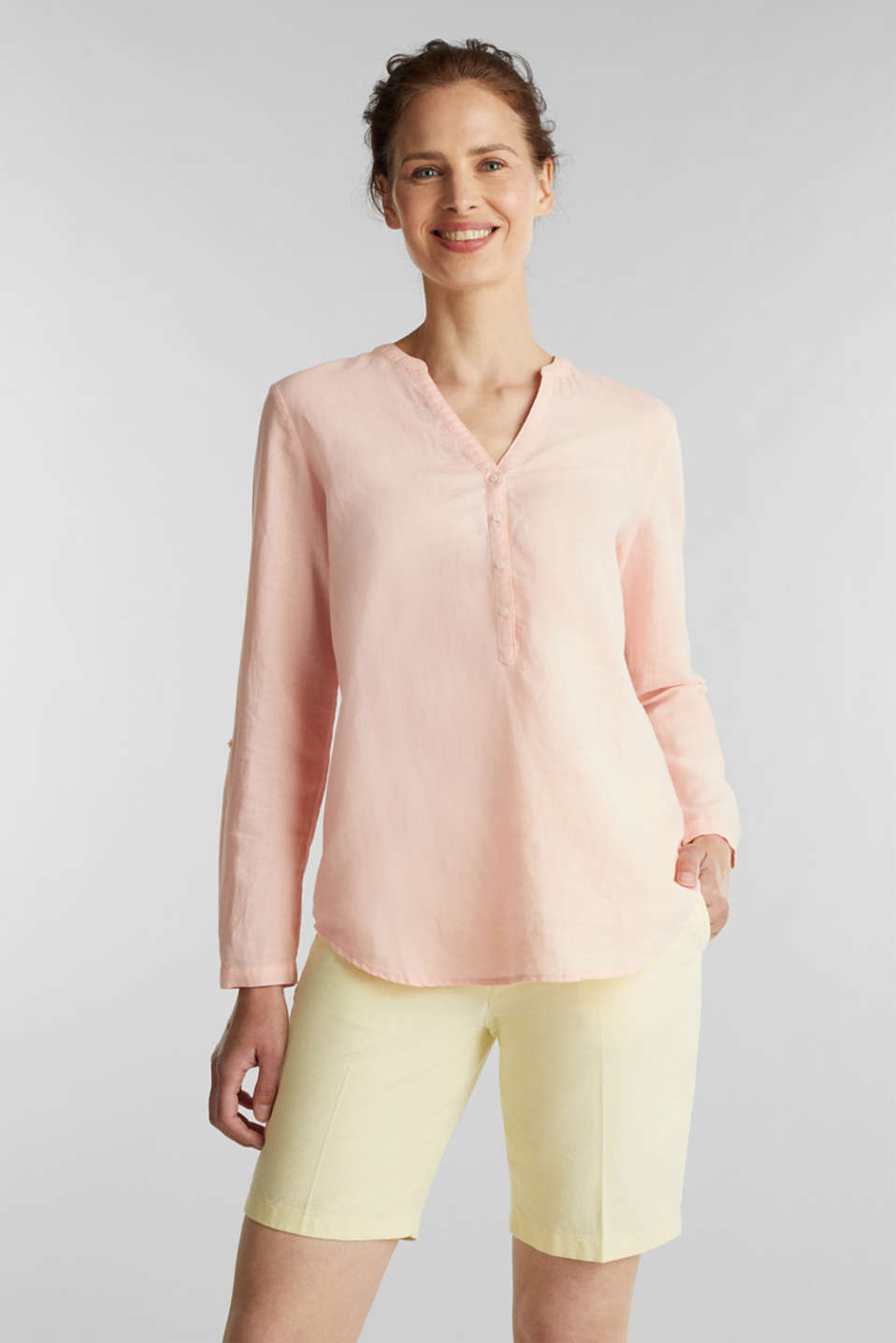 Turn-up blouse in blended linen, PEACH, detail image number 0