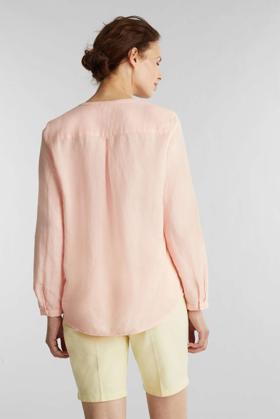 Turn-up blouse in blended linen, PEACH, detail image number 3