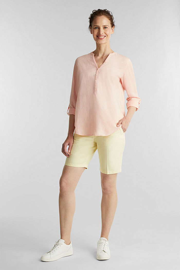 Turn-up blouse in blended linen, PEACH, detail image number 1